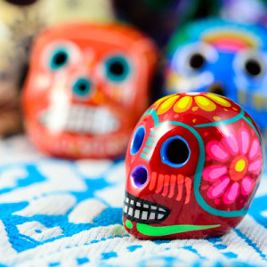 day of the dead painted skulls